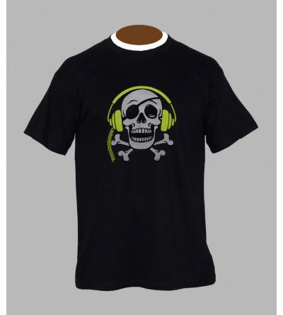 Tee Shirt DJ fluo tete de mort - Vêtement homme pas cher