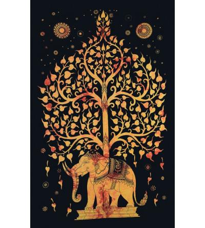Tenture arbre de vie éléphant orange - Tapisserie murale
