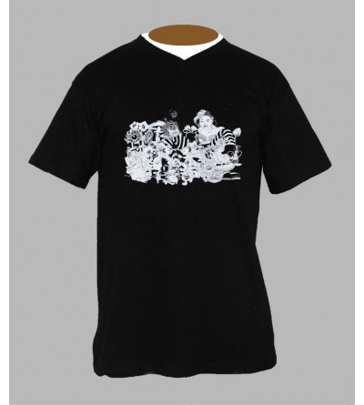 Tee shirt champignon homme '' Alice '' Col V
