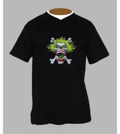Tee shirt hardcore tête de mort homme Col V