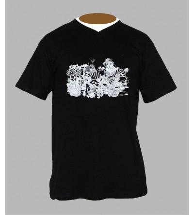 T-shirt psychedelique homme '' Alice '' Col V