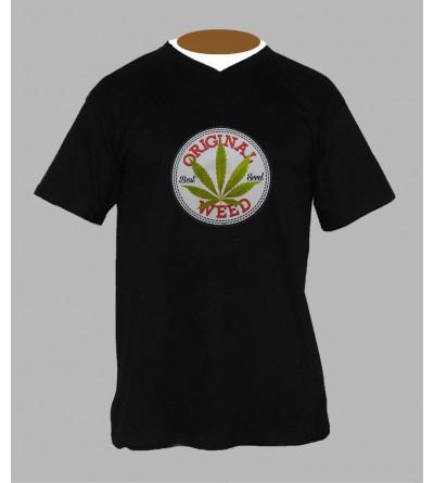T-shirt feuille de cannabis homme Col V