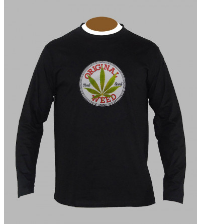 T-shirt feuille de cannabis manches longues