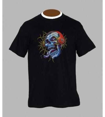 T-shirt fluo tete de mort - Vêtement homme