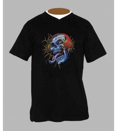 T-shirt fluo tete de mort Col V