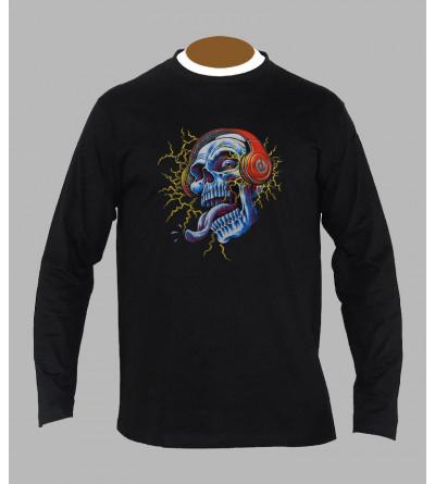 T-shirt fluo tete de mort manches longues