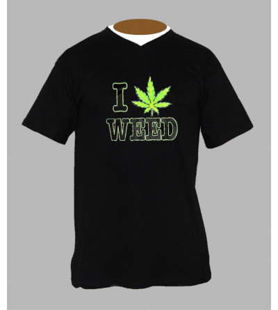 T-shirt fluo cannabis homme Col V
