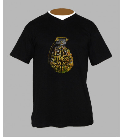 T-shirt freestyle grenade homme Col V