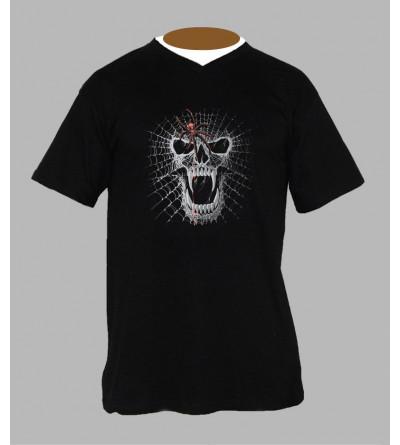 Tee shirt tête de mort homme Col V