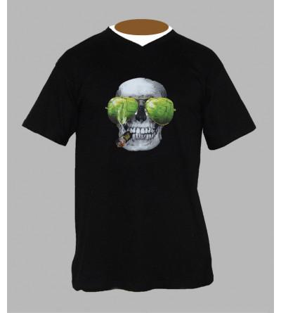 T-shirt tête de mort homme Col V