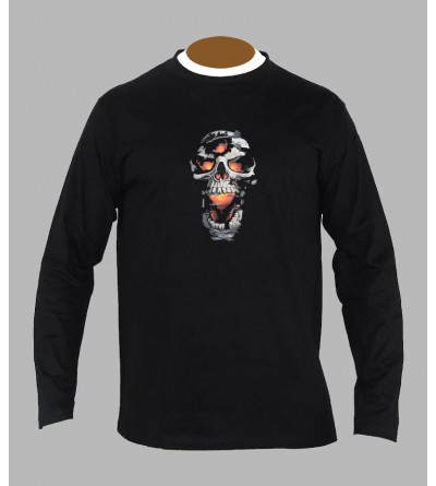 T-shirt tete de mort rock manches longues