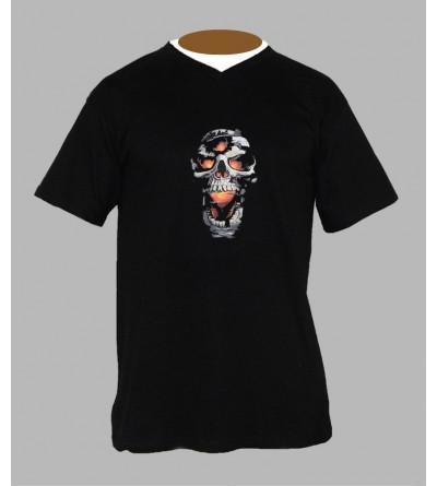 T-shirt tete de mort rock Col V