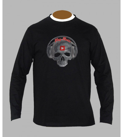 T-shirt tete de mort play music manches longues