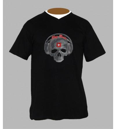 T-shirt tete de mort play music homme Col V