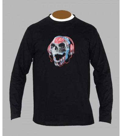 T-shirt tete de mort Dj manches longues