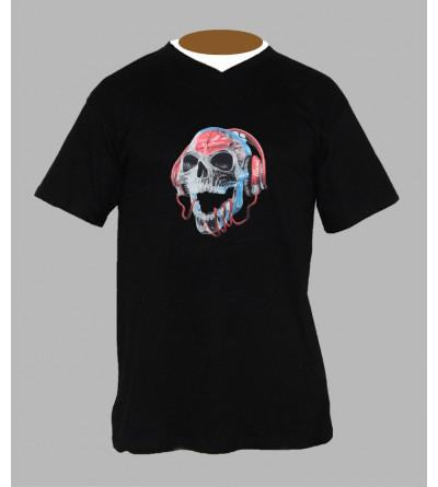 T-shirt tete de mort Dj homme Col V
