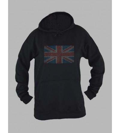 Sweat capuche femme drapeau anglais strass