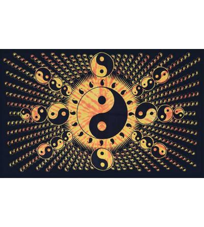 Tenture murale psychédélique yin yang orange