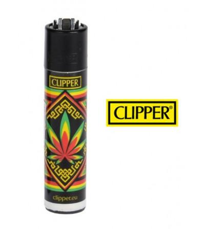 Briquet Clipper Rasta Vert Jaune Rouge