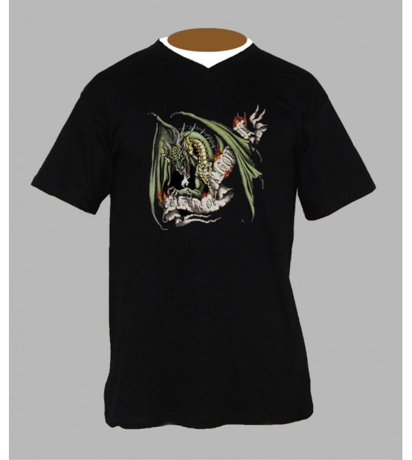 T-shirt tribal dragon homme Col V