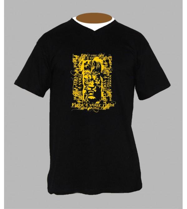 T-shirt rasta lion homme Col V