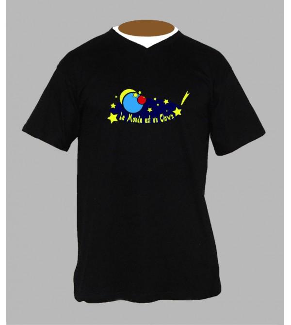 T-shirt trance goa homme Col V