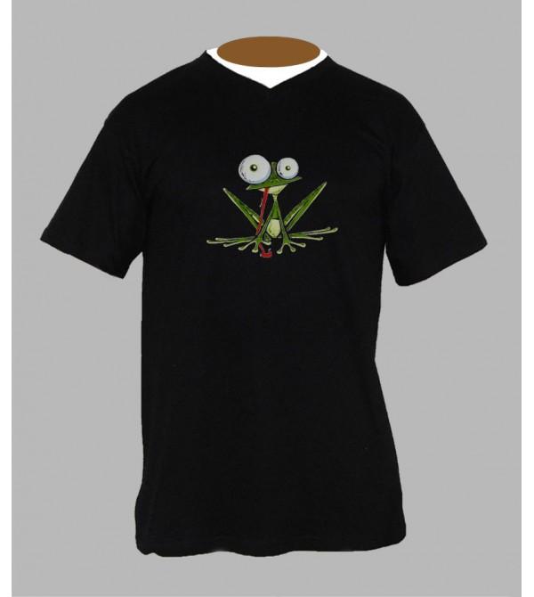 T-shirt psychédélique grenouille homme Col V