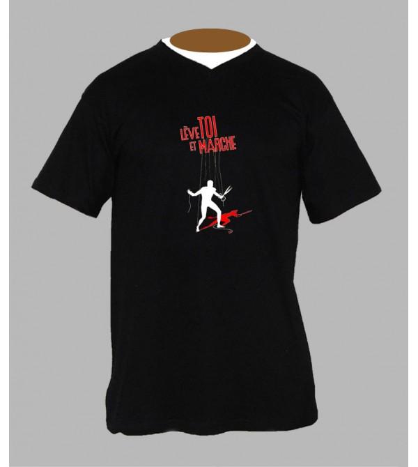 T-shirt hardstyle homme Col V