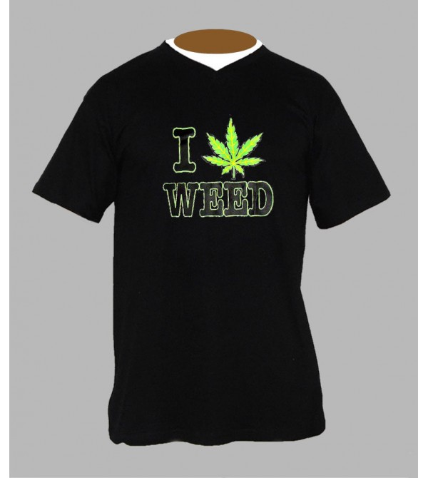 Tee shirt feuille de cannabis Col V