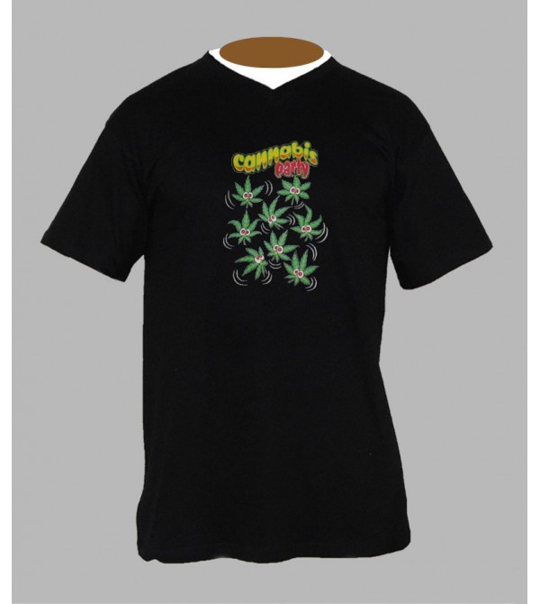 Tee shirt weed homme Col V