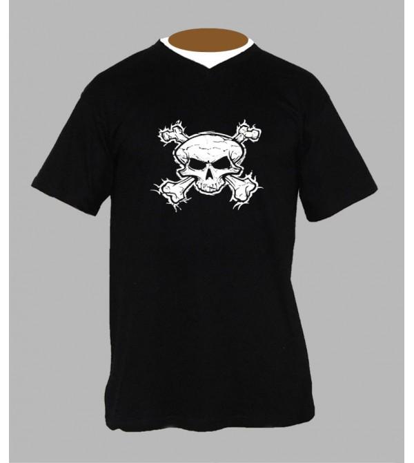Tee shirt tete de mort homme Col V