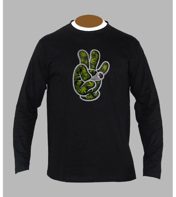 T-shirt weed homme manches longues
