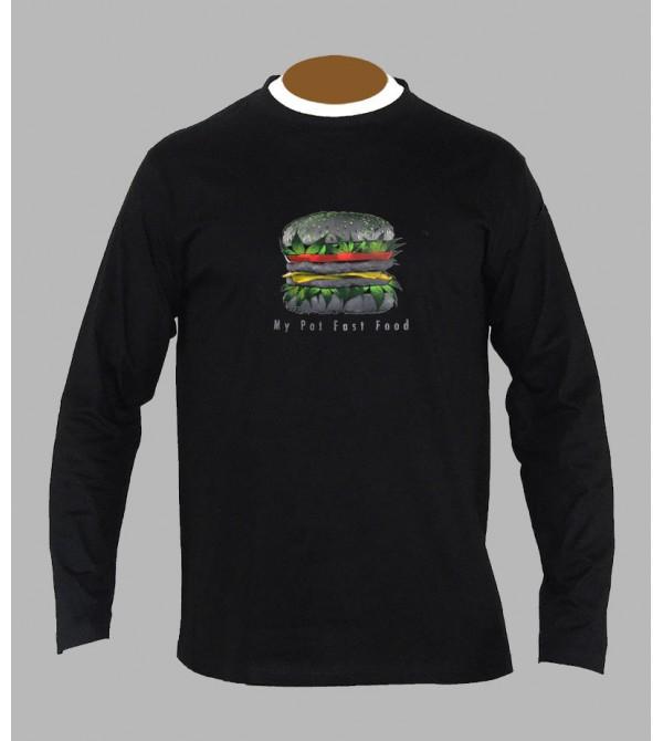 T-shirt cannabis burger manches longues