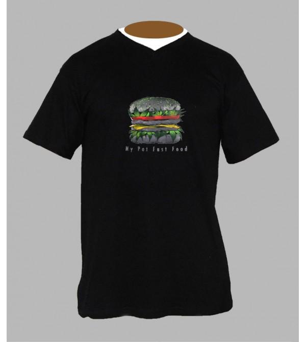 T-shirt cannabis burger homme Col V