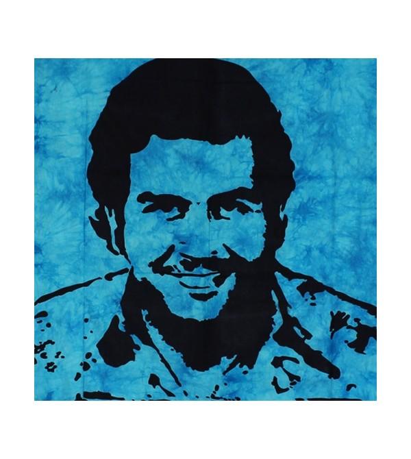 Tenture el patron turquoise, drapeau Pablo Escobar