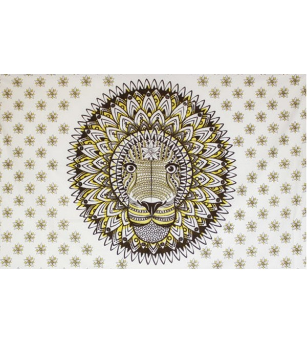 TENTURE LION MARRON - TAPISSERIE ANIMAL