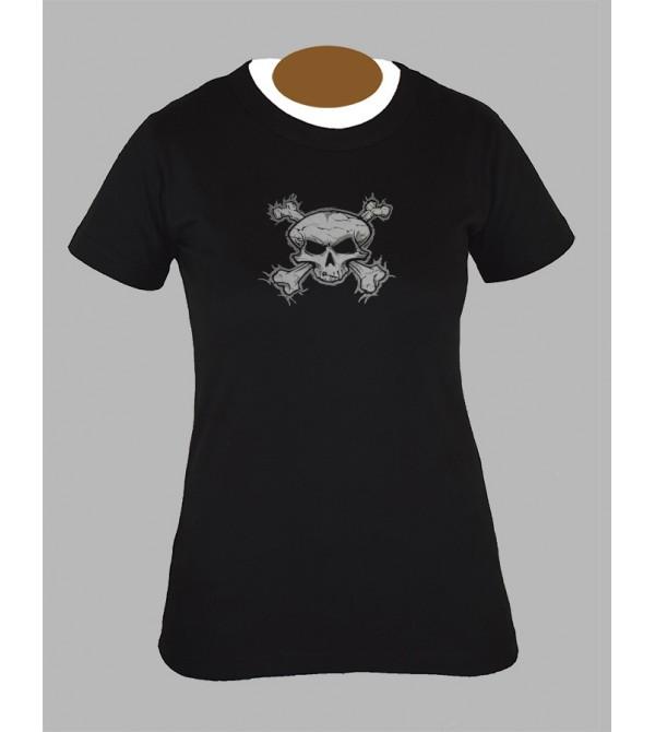 Tee shirt femme tete de mort rock gothique fringue vetement 1