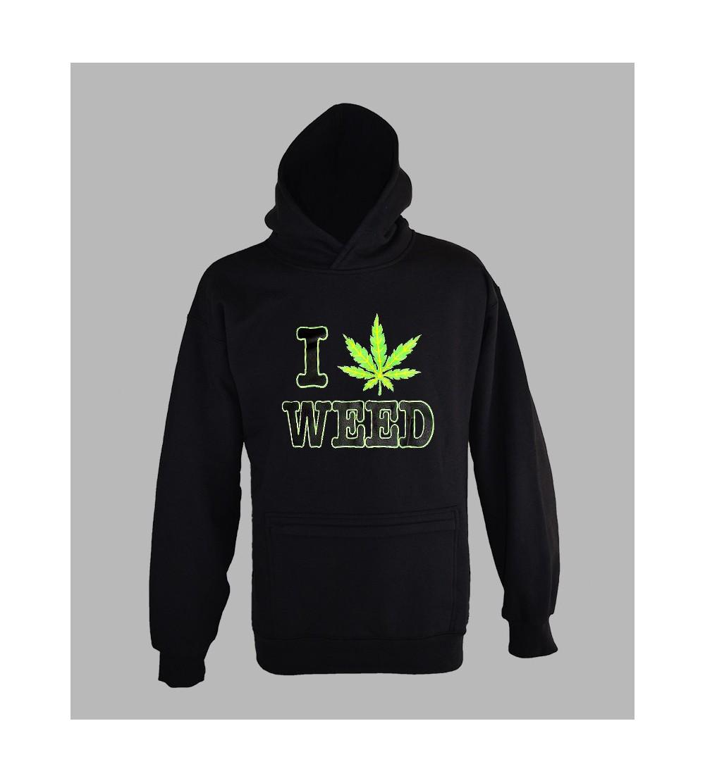 regarder 528dd a80ff Sweat Fluo J'Aime Weed - Vêtement Homme