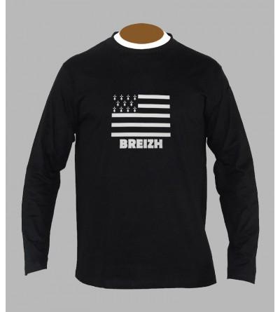 T-shirt drapeau breton homme manches longues '' BzH ''