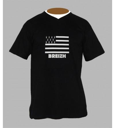 T-shirt drapeau breton homme Col V '' BzH ''