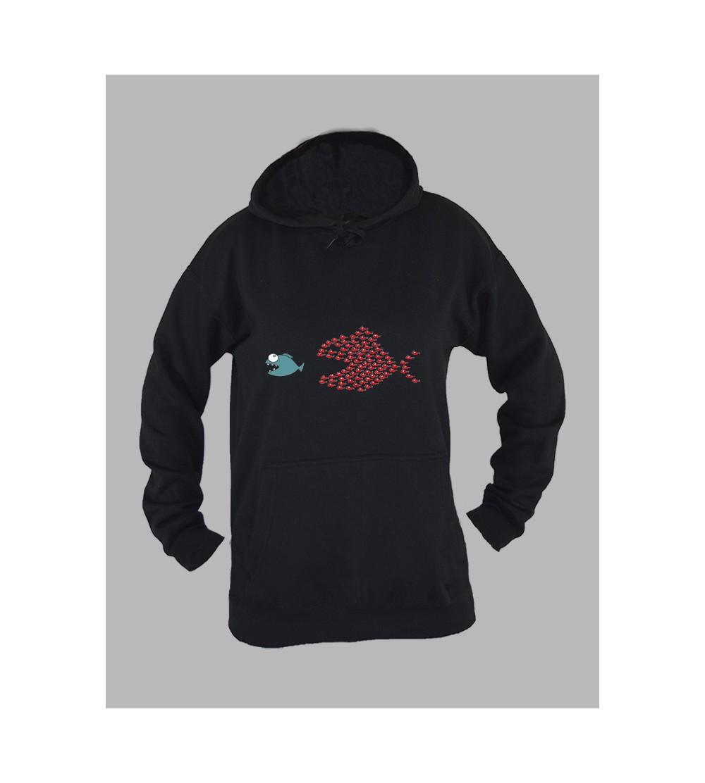 Sweat capuche femme poisson