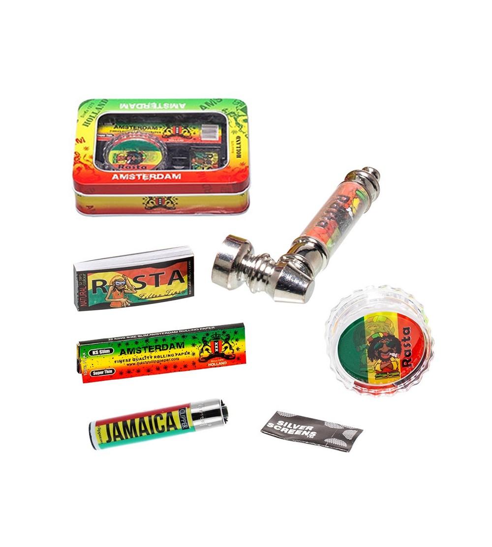 Coffret rasta cadeau accesoires fumeur Grinder briquet tempête Pipe et grilles