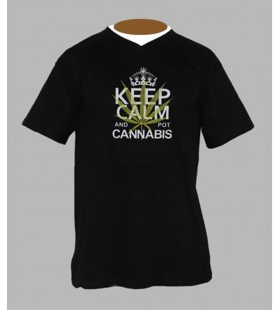 T-shirt cannabis homme Col V