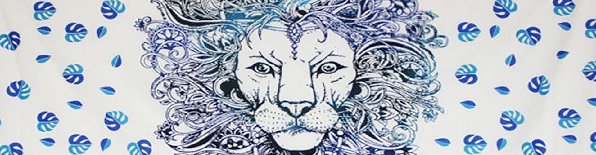 Tenture Animal au motif de lion, éléphant, paon et autres