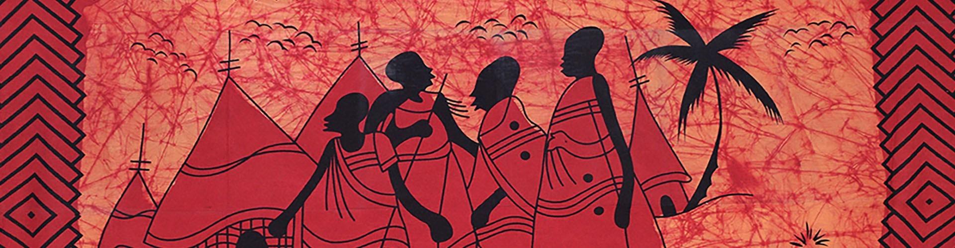 Tenture Africaine batik aux couleurs de l'Afrique, tenture africaine