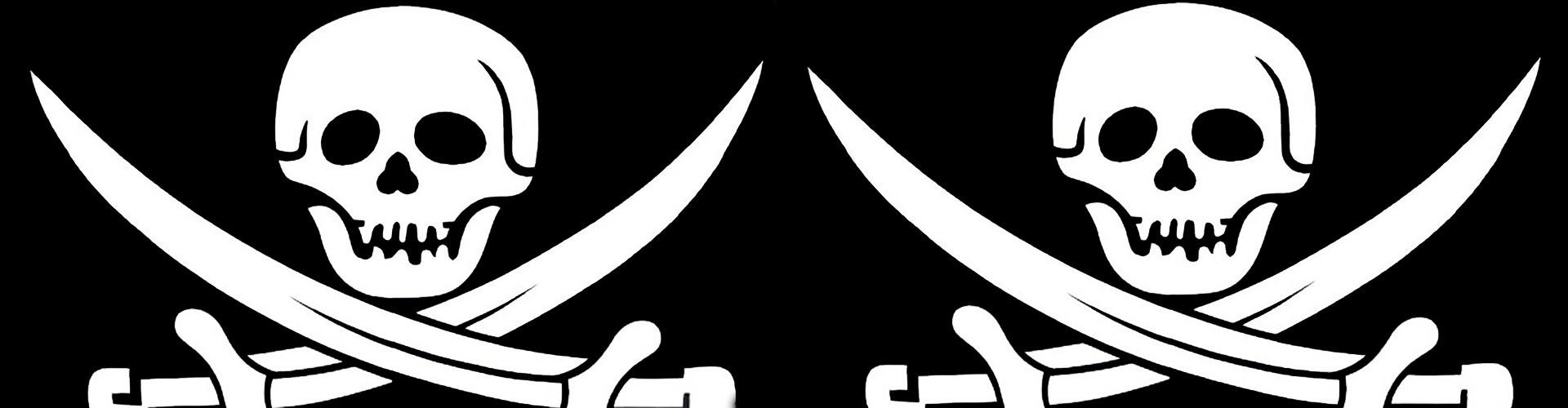 Drapeau Pirate noir et blanc en pavillon ou fanion, drapeau pas cher